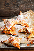 Sweet filo pastries with dried fruit