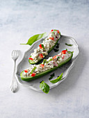 Stuffed mini cucumbers with cream cheese and moringa leaf powder
