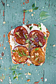Open sandwich (toast) with cottage cheese, roasted plums, honey and thyme