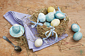 Easter eggs dyed with botanical motifs