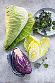 Cabbages – pointed cabbage, red cabbage, Chinese cabbage and micro kale