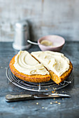 Pan-fried carrot cake with white chocolate frosting