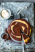 Pan-baked zebra cake with eggnog