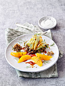 Fried grains with a duo of fennel and orange fillets