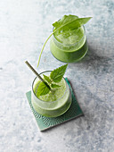 Green spring herb and cucumber smoothies