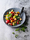Vegan ratatouille with smoked tofu