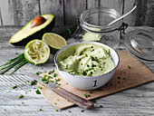 Avocado cream with cream cheese and limes