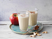 Vegan apple and soya smoothies with cinnamon