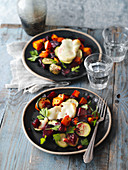 Winter vegetable bake with halloumi