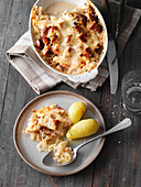 Sauerkraut bake with gammon and new potatoes