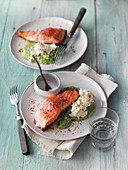 Salmon fillet with broccoli purée with cottage cheese