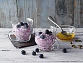 Cream cheese dessert with blueberries