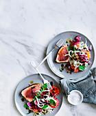 Gegrillter Thunfisch mit Blutorange, Fenchel und Olivendressing