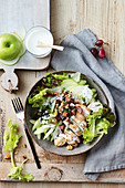 Chicken and waldorf salad dinner bowl
