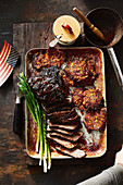 Barbecued brisket with maple bourbon glaze