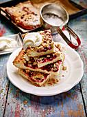 Jostaberry crumble slices with cream