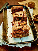 Brownies with salted caramel and nuts
