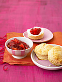 Scones with red currant and mango jam