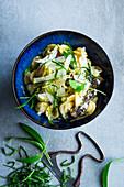 Pasta with wild garlic and morel mushrooms