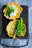Wild garlic tarts and broccolini