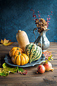 Autumn Scene with Assorted Pumpkins