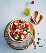 Watermelon salad with cucumber, feta cheese and fresh mint