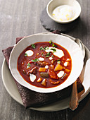Goulash soup with lemon cream
