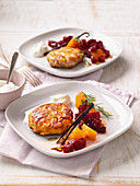 Fishcakes with a beetroot and pumpkin medley