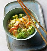 Cod with saffron vegetables