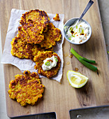 Pumpkin and potato fritters with a pumpkin seed oil dip
