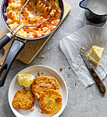 Celeriac escalopes with mashed potatoes and carrots