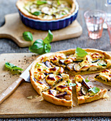 Zucchini and aubergine quiche with ricotta