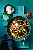 Pasta with Sopressa, blacke-eyed beans and rocket pesto