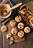 Banana and peanut butter biscuits with Smarties