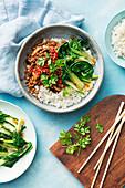 Stir Fry mit Hackfleisch, Shiitake und Paksoi auf Reis (Asien)