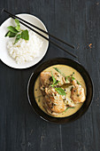 Chicken in curry pepper sauce with rice (Asia)