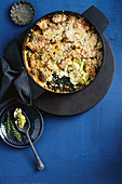 Caramelised leek and brussels sprouts gratin