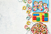 Mini doughnut cookies, pizza biscuits, lego biscuits and clown biscuits