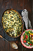 Spanakopita style pasta bake with fusilli and spinach