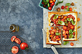 Tomato, ricotta and sticky red onion tart
