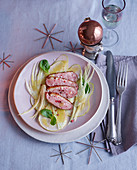 Pear and fennel salad with quince vinaigrette and roasted duck breast