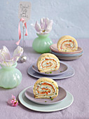 Savoury Swiss roll with herb cream and salmon