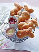 Brioche rolls with raspberry jam