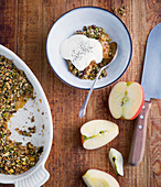 Apple crumble with a chia nut crunch