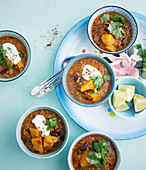 Chili con carne with pumpkin and dried apricots