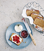 Carrot and buckwheat bread with quark and jam