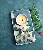 Reisblattröllchen mit Spinat-Hackfleisch-Rosinen-Füllung