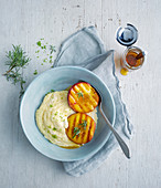 Sweet polenta with grilled peaches and rosemary