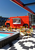 Pool and food truck on roof terrace