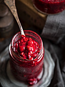 Homemade red berries jam in a jar